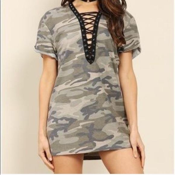 a4ea1ee75cf13 Forever 21 Dresses | Better Than Me Lace Up Camo Shirt Dress | Poshmark